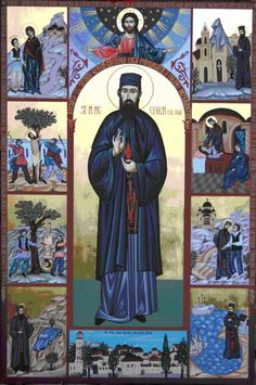 Ephraim of Nea Makri, with scenes from his life, martyrdom, and miracles Jude The Apostle, Feast Of The Annunciation, Anthony The Great, John Chrysostom, Saint Nicholas, The Monks, Orthodox Icons, Patron Saints, Holy Spirit
