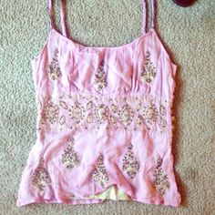 Beaded plenty pink top From Indian vintage store. It's a super beautiful top. It just does not fit me. Also has some diamonds, beads & jewels sown in. I love it so much  Plenty by Tracy Reese Tops