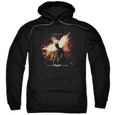DARK KNIGHT RISES/FIRE WILL RISE-ADULT PULL-OVER HOODIE-BLACK