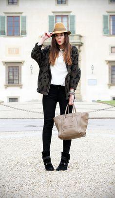 borsalino hat and camouflage coat  celine bag    #borsalino #celine #bag #camouflage #jacket #zara #pants #emporioarmani    www.ireneccloset.com