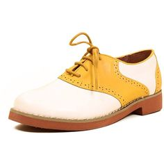 Chelsea Crew Retro SALLY Two Tone Saddle Oxford Flats (54 NZD) ❤ liked on Polyvore featuring shoes, oxfords, oxford shoes, oxford flats, wide flats, oxford flat shoes and wide shoes