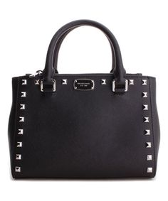 Love this Black Kellen Studded Leather Satchel on #zulily! #zulilyfinds