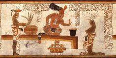 Late Classic Maya vase cJustin Kerr Scene of Aztec chocolate drinking -- Cacao with King Moctezuma Tikal, Tamales, History Of Chocolate, Chocolate Art, Maya Civilization, Ancient Aztecs, Ancient Civilizations, Vases, Archaeology News
