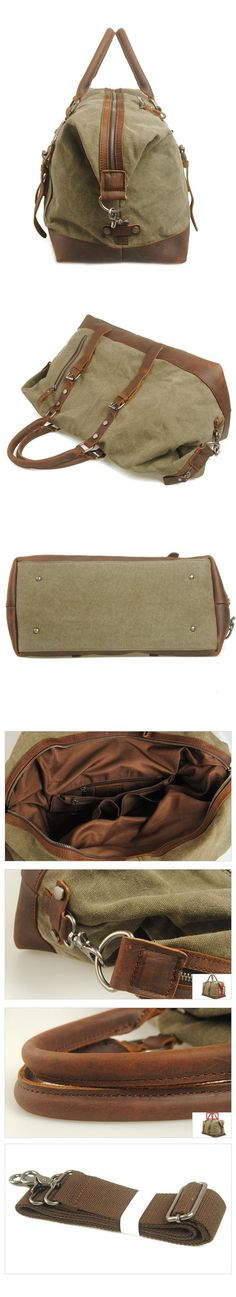 HANDMADE WAXED CANVAS LEATHER TRAVEL BAG DUFFLE BAG HOLDALL LUGGAGE WEEKENDER BAG