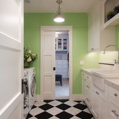 eclectic laundry room Kirkland Lake View House  Love the black and white flooring!
