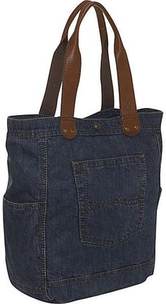 Repurposed denim tote bag - p'd by p'r eclatdusoleil/bags. Good for the market//wine bottles, and heavy items.