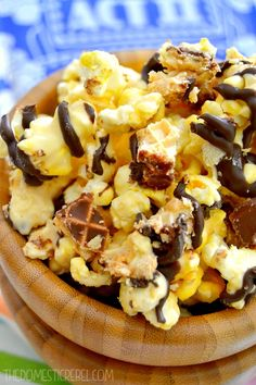 This Nutty Buddy Popcorn is packed with sweet peanut buttery flavor, crisp wafer cookies and lots of chocolate!