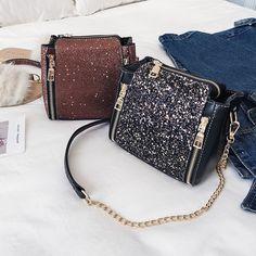 Luxury New Messenger Mini Bag Shoulder Bags Sequin Chain Crossbody Handbag  Party 75cb9e738a71
