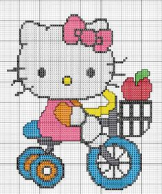 Free Hello Kitty with Tricycle Cross Stitch Chart or Hama Perler Bead Pattern Kawaii Cross Stitch, Cross Stitch Baby, Cross Stitch Animals, Cross Stitch Charts, Cross Stitch Designs, Cross Stitch Patterns, Cross Stitching, Cross Stitch Embroidery, Embroidery Patterns