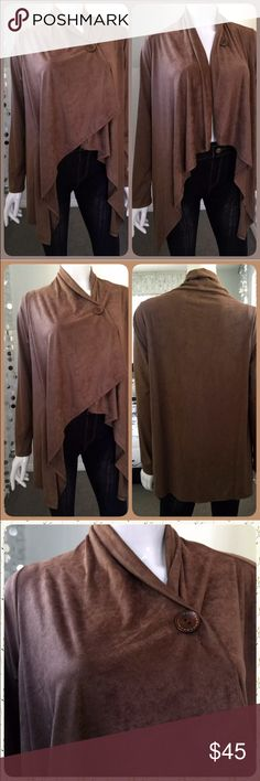 Faux Suede One-Button Cardigan! NEW! Gorgeous! Also available in black and cream size medium! Sweaters Cardigans