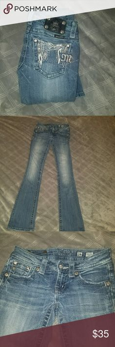Size 24 Miss Mes Good condition. Small hole on butt but easy to patch. Selling cause I dont wear anymore Miss Me Jeans Boot Cut