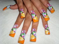 long nails design little long but I like the design Long Nail Designs, Creative Nail Designs, Beautiful Nail Designs, Beautiful Nail Art, Creative Nails, Nail Art Designs, Nails Design, Fabulous Nails, Gorgeous Nails