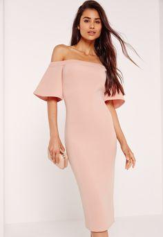 Bonded Scuba Midi Dress Pink