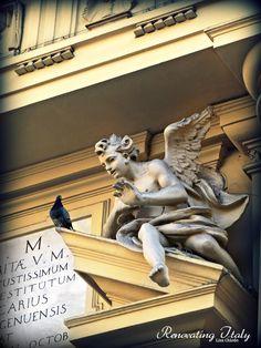 Detail cherub and pidgeon in Italy Italian Life, Living In Italy, Antiquities, Cherub, Metals, Create Yourself, Household, Lion Sculpture, Statue