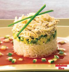 Crab & Lemongrass Rice Tower made with Mahatma Basmati Rice.