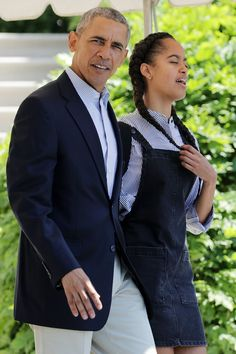 Pin for Later: It Turns Out Malia and Sasha Obama Are Ridiculously Good at Accessorizing While Malia Layered a Button-Down Under Her Overall Dress
