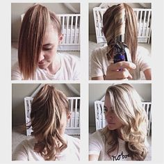 You just put your hair in a pony tail at the front of your head (where bangs would be). Then curl in 1 inch sections straight down (if you have layers like me you may need to go back over some of the shorter pieces). Then run your fingers through, take the holder out, AND YOUR DONE!!! by KariB