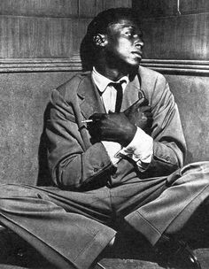 Miles Davis, 1948.  He later beat his addiction, credits boxer Sugar Ray Robinson for inspiration.