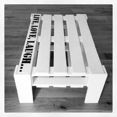 Fancy - Pallet Coffee Table - <3 this, would be awesome in maybe a teal or bluish color w/ white letters.