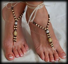 Wood Beads Bridal Wedding Barefoot Sandal by RomanticBridalDesign and if you need a wedding minister call me at (310) 882-5039 https://OfficiantGuy.com