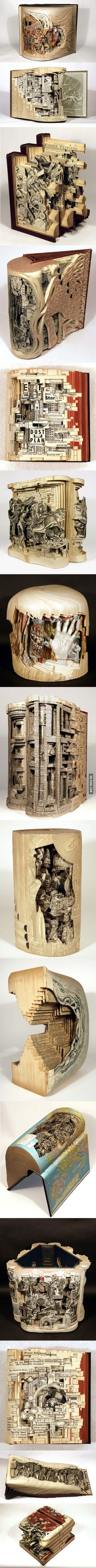 Book art - terrible thing to do to a book, but really beautiful art. Origami, Altered Books, Altered Art, Book Art, Drawn Art, Book Folding, Art Plastique, Book Crafts, Bookbinding