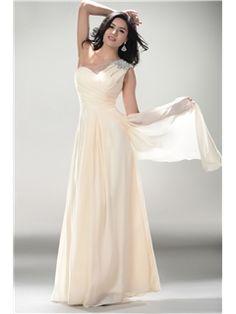 Pretty A-Line Floor-Length One-Shoulder Beadings Evening/Prom Dress