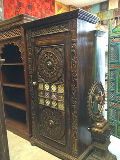 Antique Cabinet Colorful Floral Carving Wardrobe by MOGULGALLERY