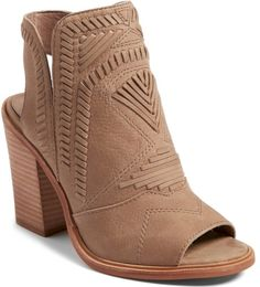 Vince Camuto Karinta Block Heel Bootie in Beige. Intricately patterned whipstitching lends Western-inspired style to a versatile peep-toe bootie elevated by a tapered stacked heel.. #shoes#fashion#style#stylish#trendy