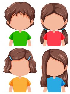 Set of brunette girl different hairstyle. English Activities, Preschool Learning Activities, Preschool Activities, Body Parts Preschool, Emotions Preschool, Free Characters, Cartoon Faces, Cartoon Drawings, Learning English For Kids