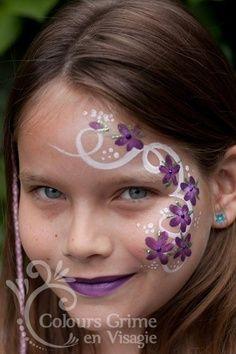White swirls with Violet 5 petal flowers. Face Painting Flowers, Adult Face Painting, Face Painting Designs, Painting For Kids, Kids Makeup, Eye Makeup, Cheek Art, Fairy Makeup, Maquillage Halloween