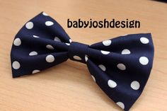 Navy With White Dot Fabric Hair bow for teens or by babyjoshdesign
