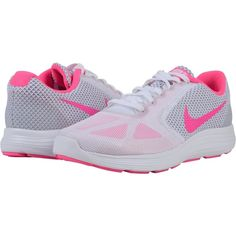 Nike Revolution 3 (White/Wolf Grey/Pink Blast) Women's Running Shoes ($43) ❤ liked on Polyvore featuring shoes, athletic shoes, grey, running shoes, breathable shoes, pink running shoes, flexible running shoes and white athletic shoes