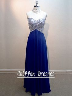 Beads Sweetheart Floor Length Chiffon Prom Dress, Open Back Prom Dress, Long Party Dress Beads on Etsy, $148.00