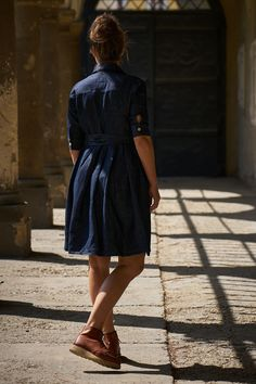 knee-length) made from a Japanese indigo dyed linen/cotton blend fabric featuring a buttoned front (natural horn buttons), two side pockets & belt. Indigo Dye, Red Wing, Short Dresses, Fabric, How To Make, Cotton, Shirts, Collection, Fashion