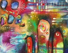 Rainbow Acrylic Painting Inspirational Art OOAK by firemanbell, $280.00
