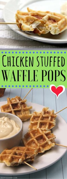 Chicken Stuffed Waffle Pops - easy chicken and waffles appetizer with homemade crunchy chicken nuggets dipped in a quick Bisquick waffle batter. #Chicken #Waffles #Appetizer #SnappyGourmet via @snappygourmet