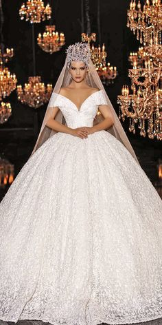 Top 24 Wedding Dresses For Celebration ❤ ball gown wedding ideas part 2 off the shoulder endrit mertiri ❤ See more: http://www.weddingforward.com/wedding-ideas-part-2/ #weddingforward #wedding #bride