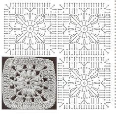 New crochet granny square chart link ideas Point Granny Au Crochet, Crochet Flower Squares, Crochet Motifs, Crochet Blocks, Granny Square Crochet Pattern, Crochet Diagram, Crochet Chart, Crochet Stitches, Knit Crochet