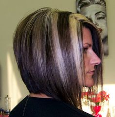 Stacked Bob Haircut w/chunky highlights Back View