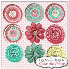 Digital Scrapbook Kit: Color Me Pretty Mega Kit w Owls, Birds, Fabric Flowers, Chipboard 28 Papers & 65 Elements
