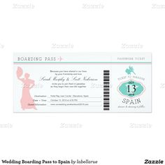 Wedding Boarding Pass to Spain 4x9.25 Paper Invitation Card