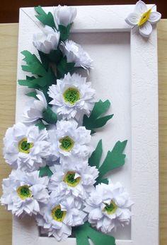 Tablou cu crizanteme albe - quilling