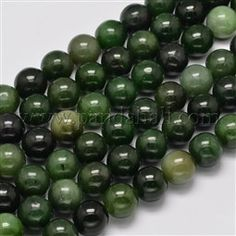 Natural Canada Jade Round Bead Strands G-M304-20-14mm