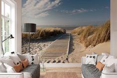 REINDERS Duinen - Fotobehang - 368x254cm Bathroom Inspiration, Outdoor Furniture, Outdoor Decor, Sun Lounger, Wall Murals, Kids Room, Interior, Blue, Home Decor