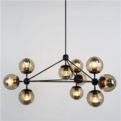 bubble kronleuchter Modo Chandelier - 3 Sided - 10 Globe, Black - Design Within Reach - Design Within Reach Foyer Lighting, Cool Lighting, Lighting Design, Modern Chandelier, Chandelier Pendant Lights, Pendant Lamp, Industrial Chandelier, Black Chandelier, Globe Pendant