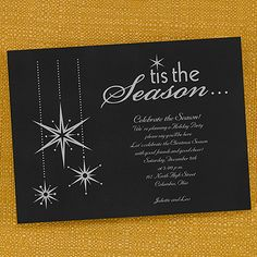 Tis the Season Custom Printed Holiday Party Invitations choose paper, font and ink color! http://bustlingbride.carlsoncraft.com/Parties--Celebrations/Shop-All-Parties--Celebrations/3166-NK269-Tis-the-Season--Invitation.pro#imageSelect=125603