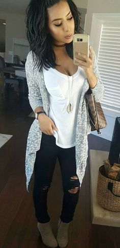 #winter #outfits white scoop neck shirt; gray cardigan