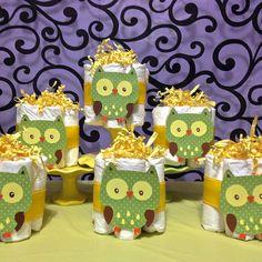 Gender Neutral Owl Baby Shower 6 pc Mini Diaper Cake by DopeyOwl, $36.00