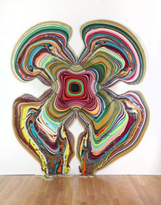 """""""Pour Paintings"""" created by pouring paint over plywood by #HoltonRower"""
