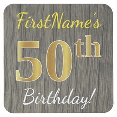 Faux Wood Faux Gold 50th Birthday  Custom Name Square Paper Coaster - wood gifts ideas diy cyo natural